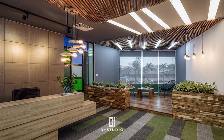 Bố trí thêm nhiều cây xanh là điểm nhấn ấn tượng tại khu vực tiếp khách văn phòng F88