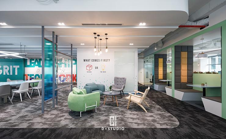 Màu sắc trẻ trung của ghế ngồi tại khu vực tiếp khách sẽ hài hòa với màu sắc của không gian tổng của văn phòng và phù hợp hơn với đối tượng khách hàng trẻ trung, năng động.