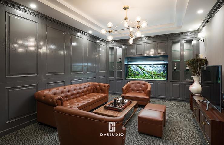 Sofa và bàn tiếp khách bằng gỗ là lựa chọn đem đến sự sang trọng, tinh tế cho không gian trong văn phòng