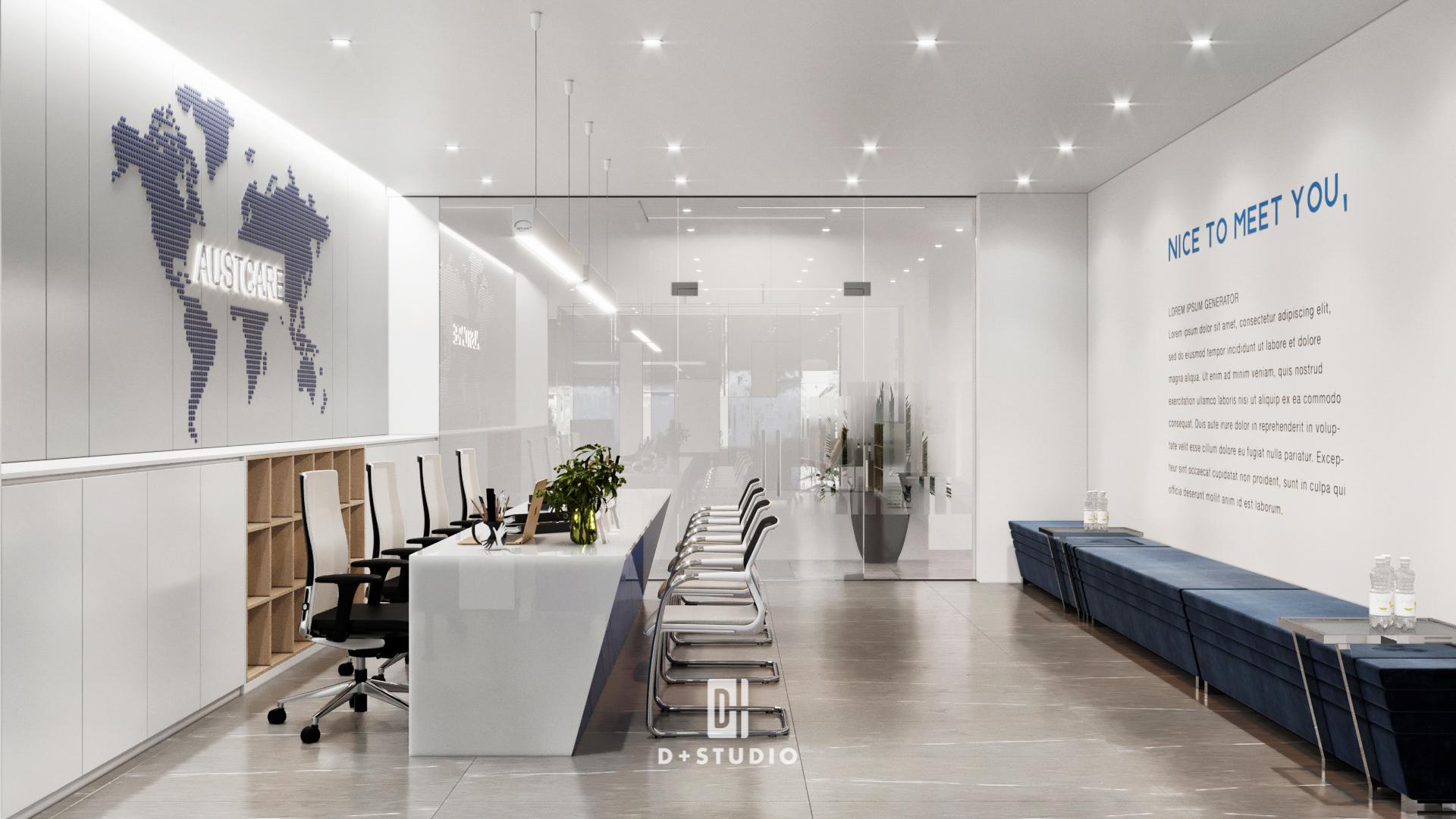 Tông màu trắng chủ đạo giúp khu vực tiếp khách hàng thêm sang trọng, thanh lịch và chuyên nghiệp hơn