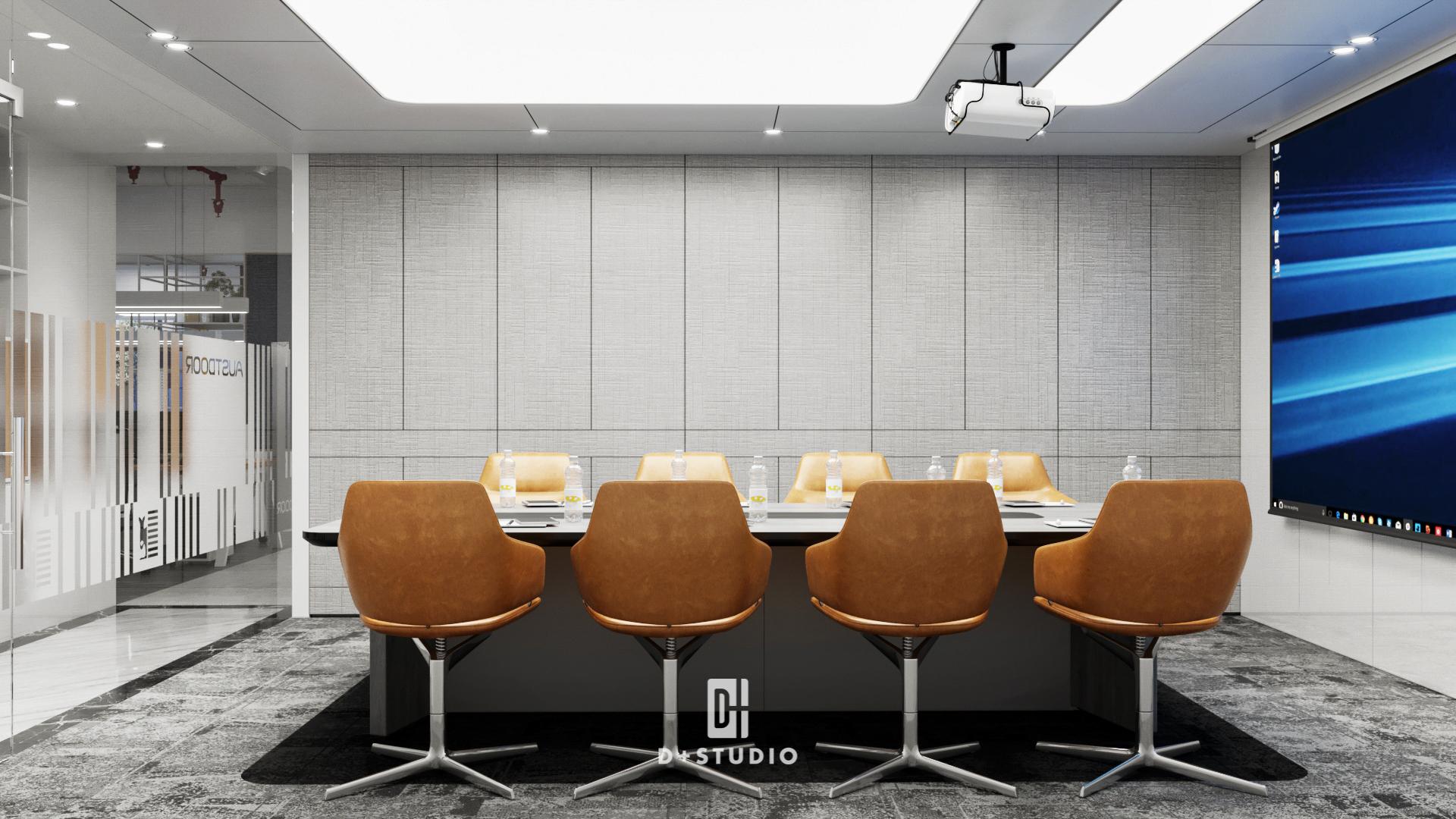 Phòng họp trở nên hiện đại và chuyên nghiệp hơn với tông màu trắng xám