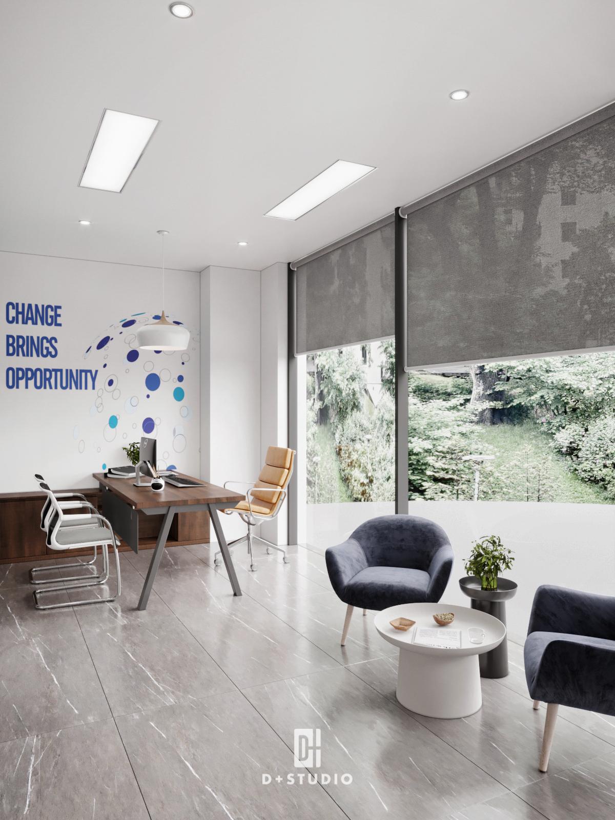 Nhờ sử dụng gam màu trắng kết hợp với hệ thống cửa kính tạo không gian mở và thoáng mát hơn cho phòng giao dịch