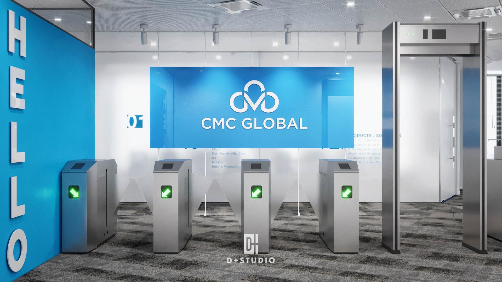 Khu vực sảnh vào của CMC Global T10 Samsung sử màu xanh dương - là màu sắc biểu tượng thương hiệu đồng thời tạo cảm giác thoải mái, thân thiện
