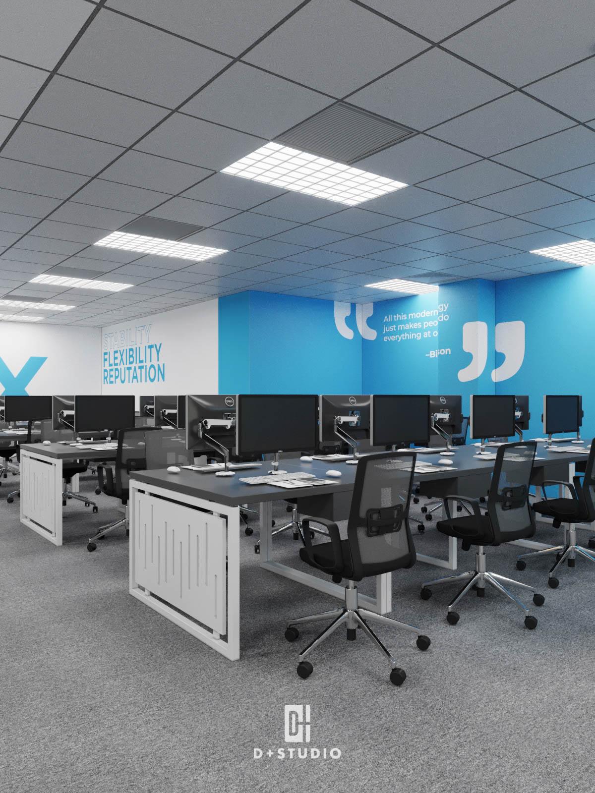 Khu vực làm việc của văn phòng CMC Global T10 Samsung sử dụng gam màu xanh nhạt tạo cảm giác ổn định, thư giãn