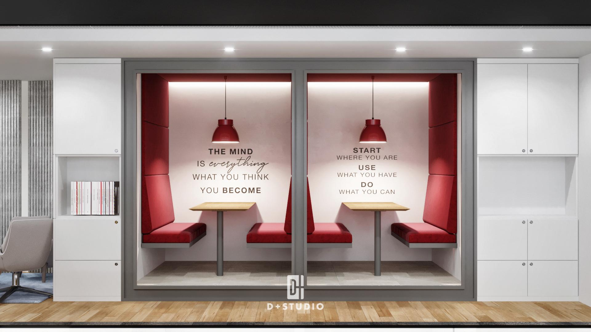 Không gian làm việc riêng tư của Aspaces thúc đẩy sự nhiệt huyết và đam mê của nhân viên với thiết kế trần, tường, ghế, đèn màu đỏ nổi bật giữa nền màu trắng văn phòng