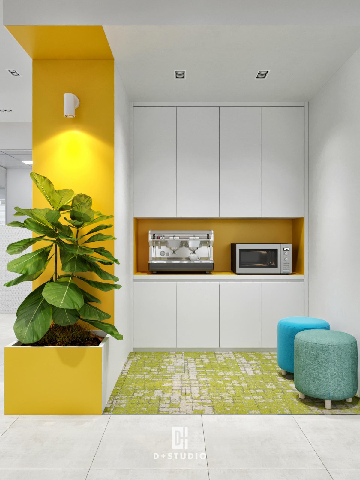 Khu vực pantry của Aspaces sử dụng tông chủ đạo là màu vàng tạo cảm giác ấm áp, thư giãn đẩy lùi cảm xúc tiêu cực, làm mới lại bản thân