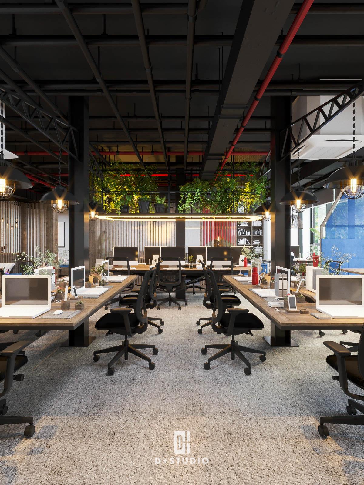 Không gian làm việc chung của công ty BCI sử dụng màu đen sơn trần nhà kết hợp với những tông màu đa dạng ở nội thất, tường đem đến cảm quan rất ấn tượng