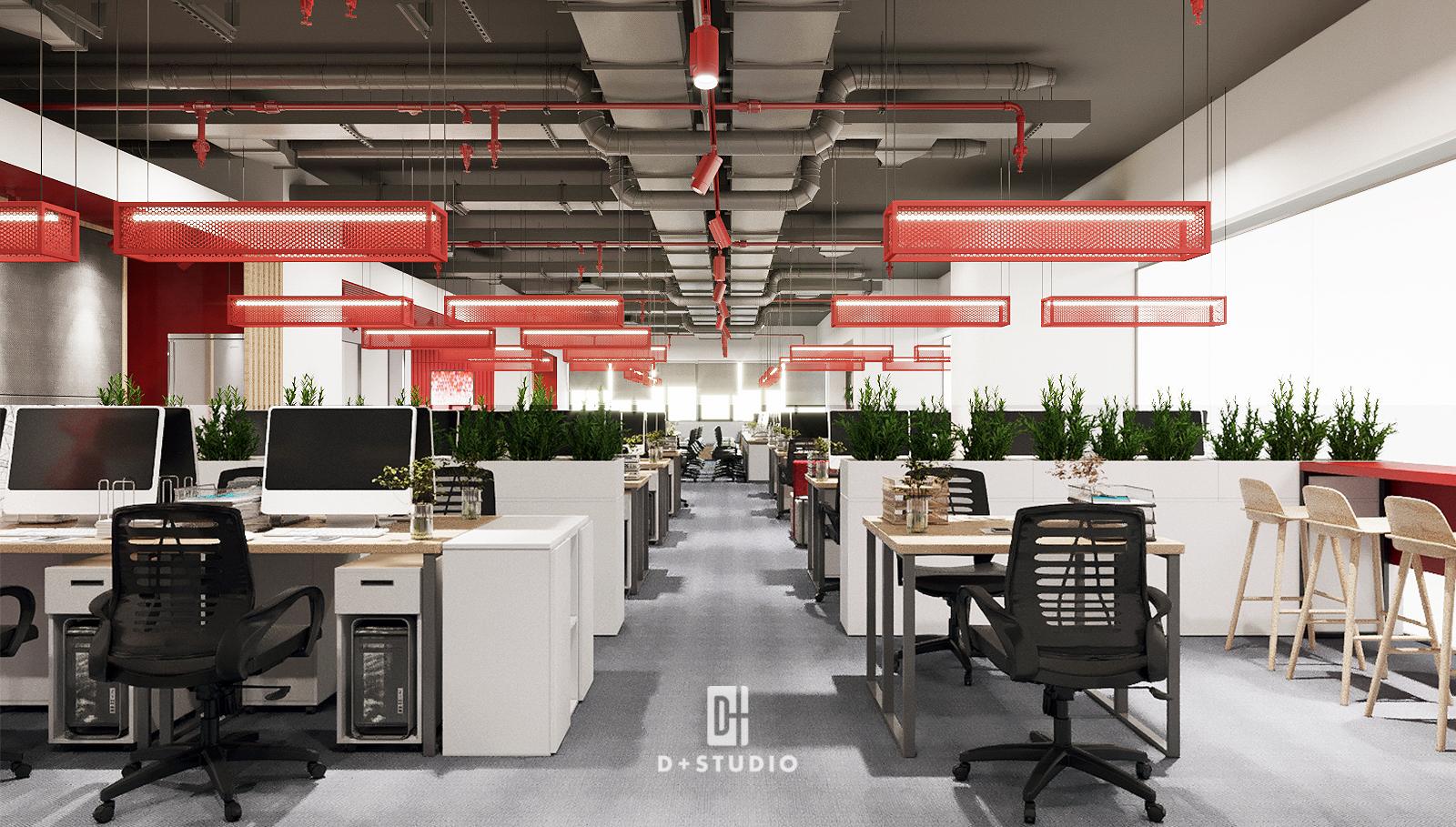 Khu làm việc chung của Canifa sử dụng dãy tủ đựng hồ sơ màu trắng tạo không gian riêng cho văn phòng. Trên tủ có đặt chậu cây xanh tạo điểm nhấn nhẹ nhàng.
