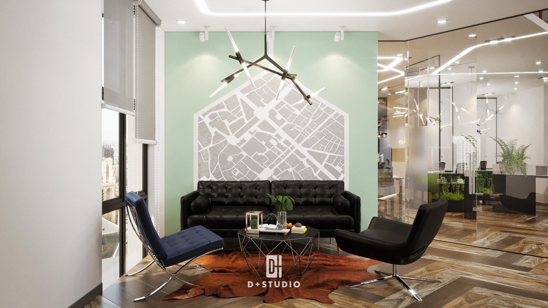Không gian tiếp khách hàng trở nên thư thái và dễ chịu hơn trong mỗi buổi trò chuyện nhờ sử dụng tông màu xanh lá nhẹ nhàng