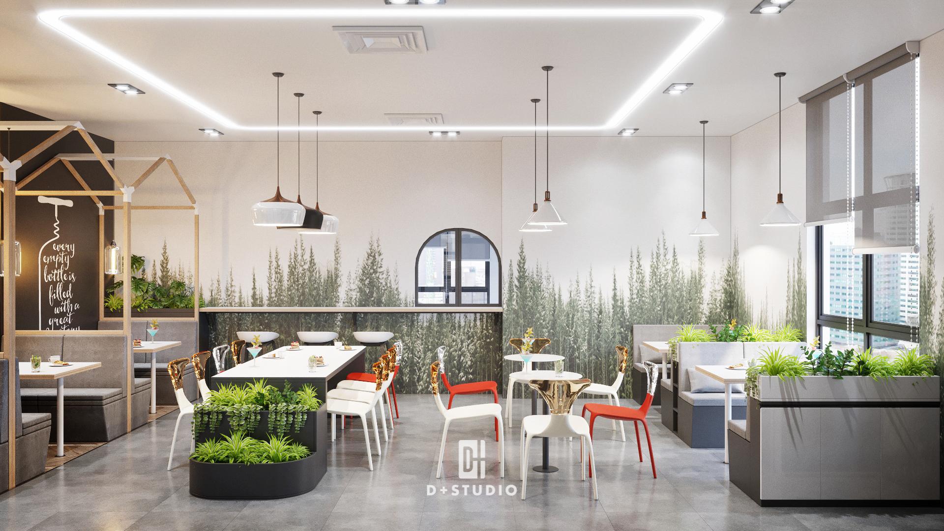 Không gian Pantry của văn phòng với cảnh trí cây xanh đem không gian vô cùng thiên nhiên và thoáng đãng
