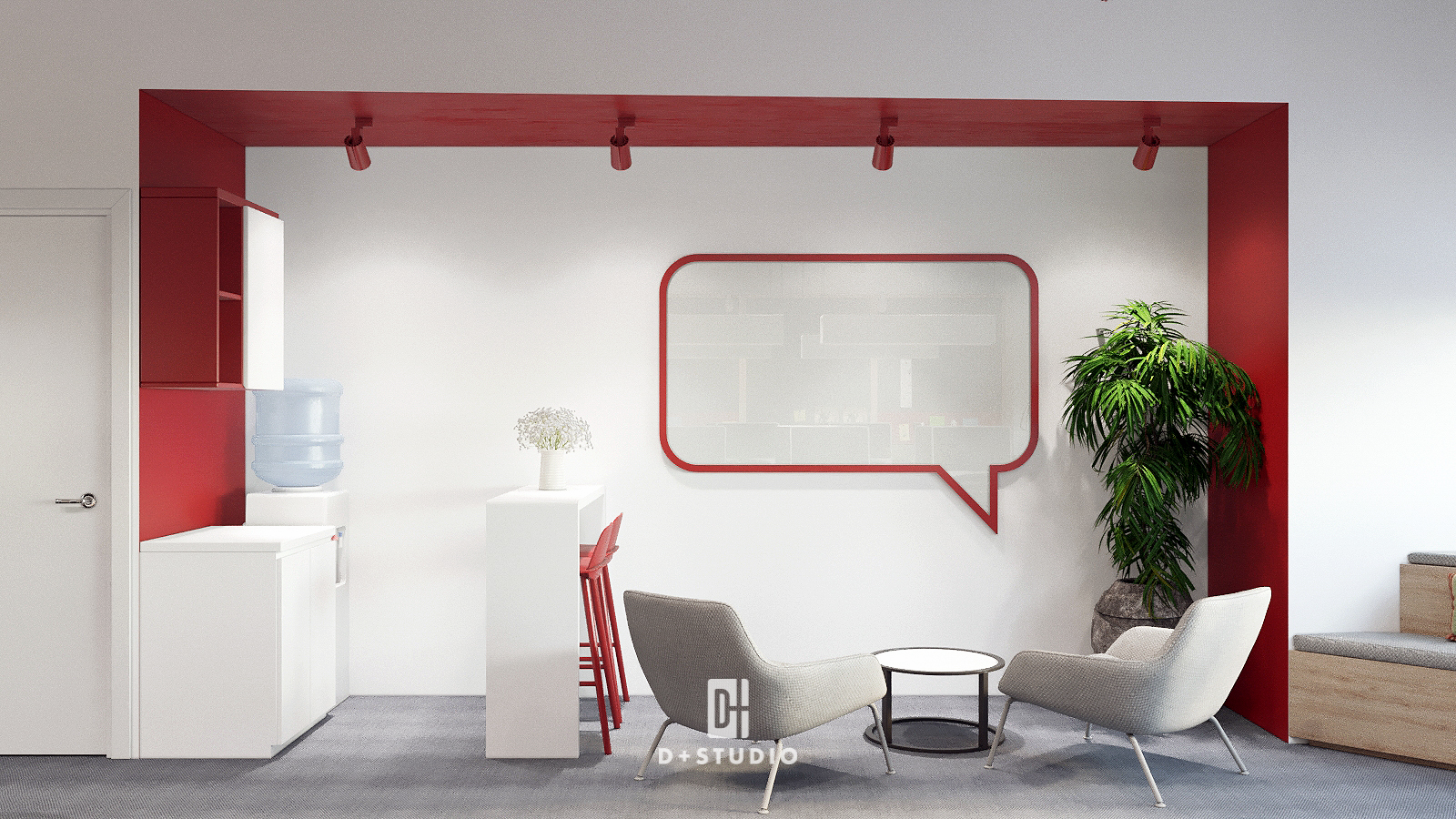 Khu vực pantry marketing sử dụng màu đỏ làm điểm nhấn trên tường mang đến nguồn năng lượng, truyền thêm nhiệt huyết cho nhân viên