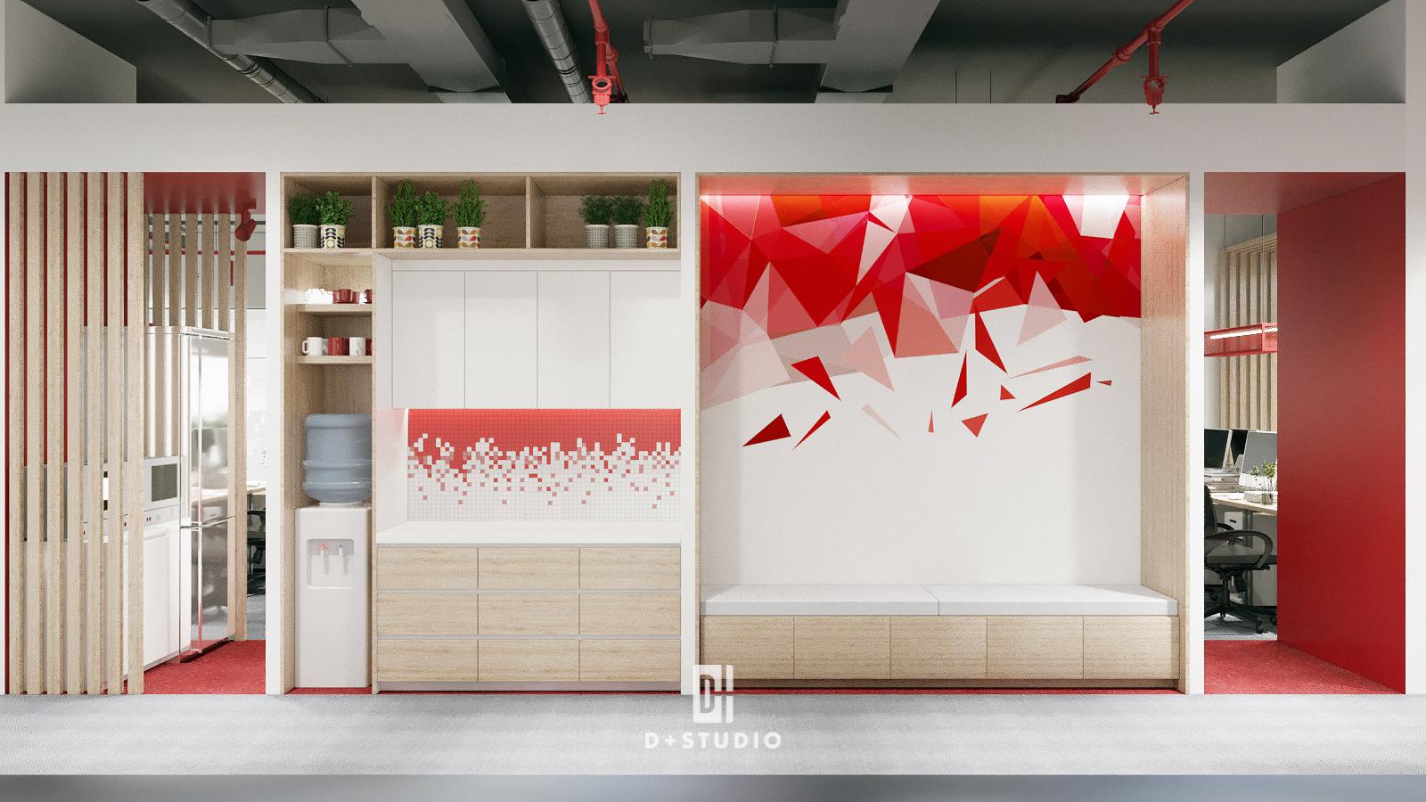 Sử dụng màu đỏ tạo điểm nhấn trong trang trí tường khu vực pantry phòng họp tạo ra hiệu ứng thị giác thu hút, truyền thêm năng lượng trong mỗi cuộc họp