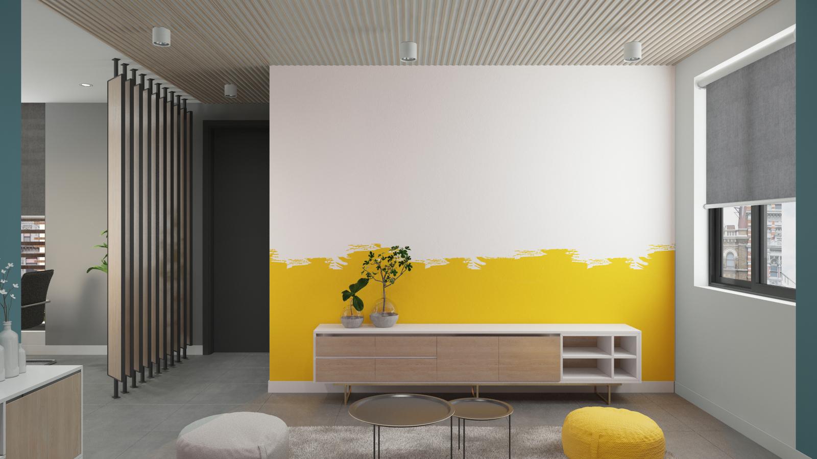 Phòng tiếp khách công ty APP mang đến cảm giác thoải mái, vui vẻ cho khách hàng nhờ sử dụng gam màu vàng trên tường và ghế ngồi