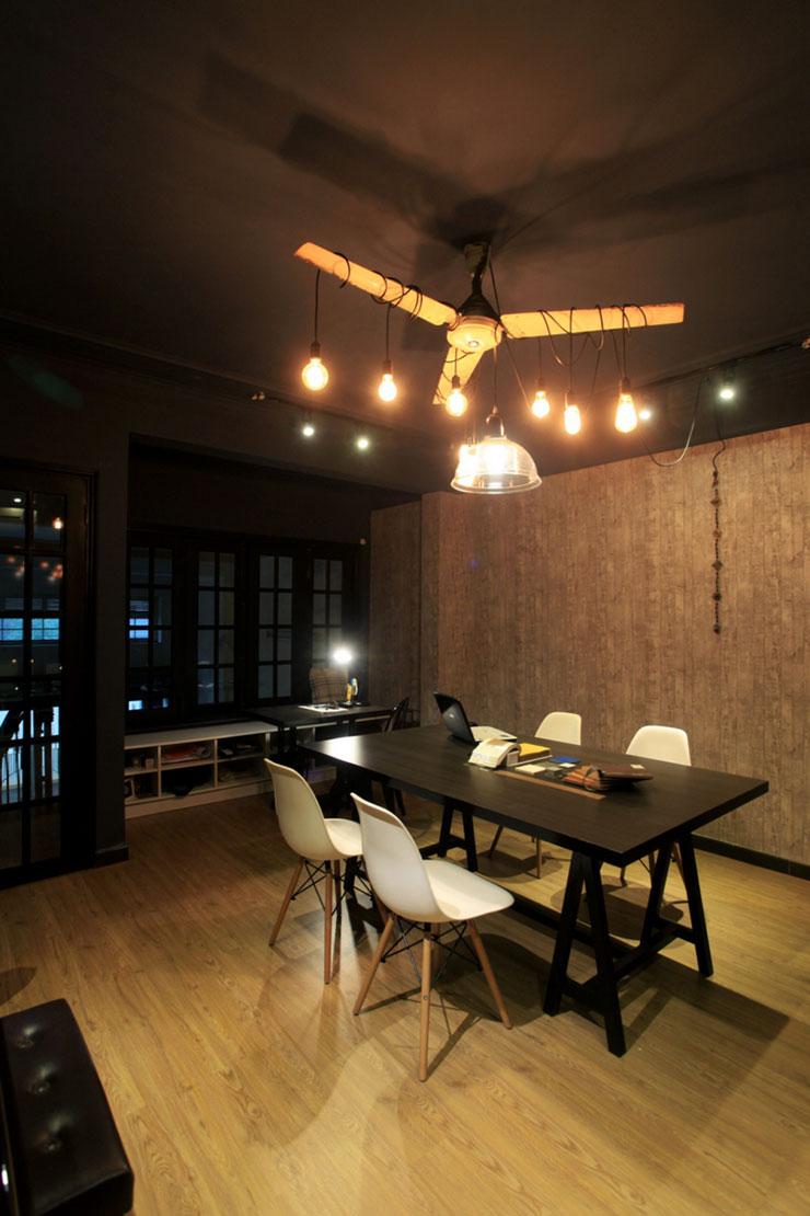 Quạt trần được sử dụng để treo đèn tạo không khí hoài cổ, tăng tính thẩm mỹ, ngoài ra còn thể hiện được sự sáng tạo của một văn phòng thiết kế