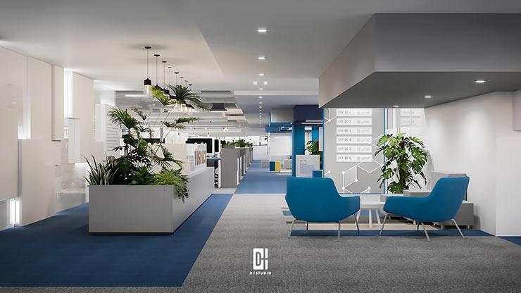 Sự kết hợp giữa vách ngăn bằng tủ hồ sơ và cây xanh giúp văn phòng trở nên thân thiện với môi trường, tạo cảm giác rộng rãi, thông thoáng hơn.