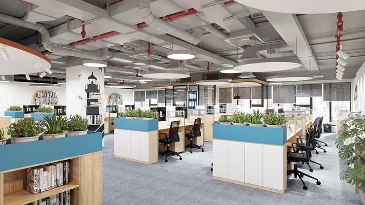 Các tủ hồ sơ nhiều kiểu dáng được thiết kế hợp lý trong văn phòng Tecomen giúp tạo được sự ngăn cách trong không gian mở.