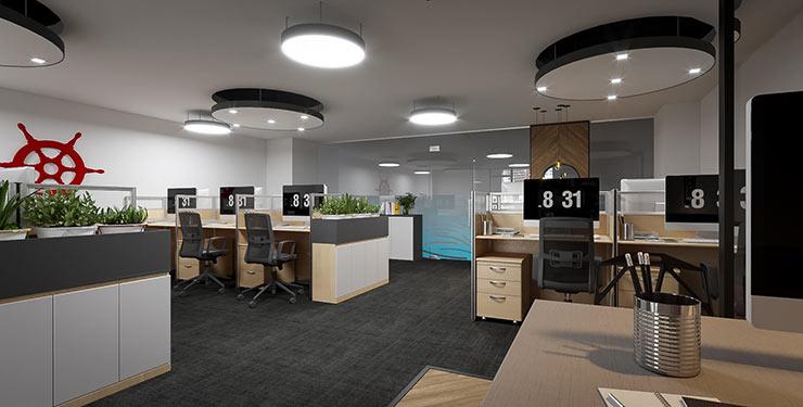 Phòng kế toán của Tecomen cũng chọn kiểu bố trí này bởi nó không chỉ là nơi lưu giữ hồ sơ mà còn tạo được sự ngăn cách không gian cần thiết.