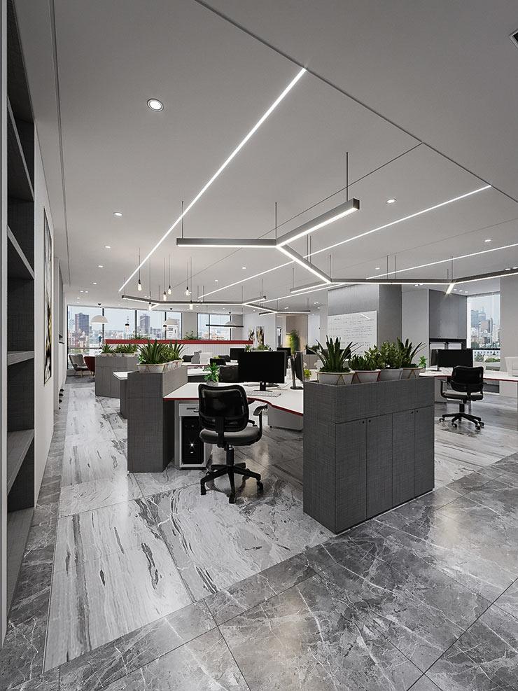 Văn phòng TXD sử dụng những chiếc tủ đồ thấp để tạo vách ngăn cho không gian làm việc của mỗi nhân viên trong công ty.