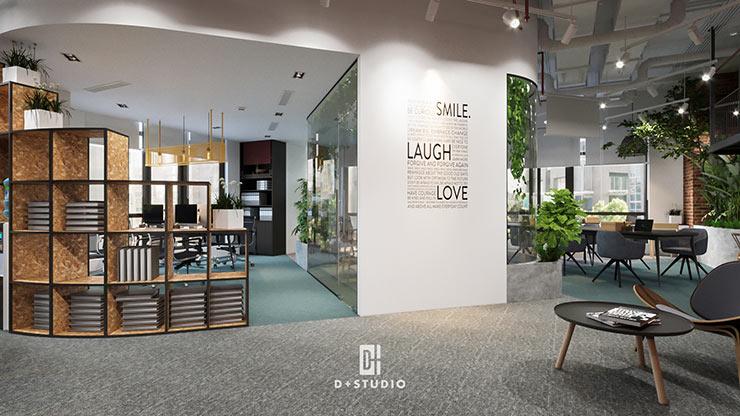Thay vì sử dụng tường và vách kính, văn phòng Weco sử dụng tủ đựng hồ sơ nhiều tầng để ngăn cách, tạo cảm giác thông thoáng cho không gian.