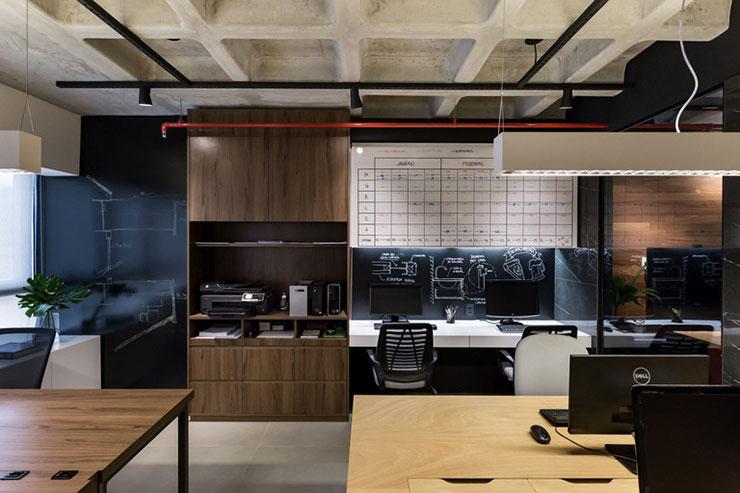 Việc bố trí một bức tường bằng bảng đen tại khu vực làm việc giúp cho nhân viên dễ dàng triển khai các ý tưởng thiết kế hơn