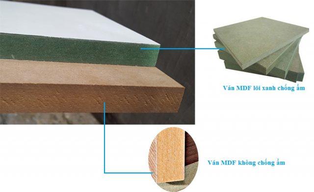 Loại gỗ công nghiệp MDF lõi xanh là loại có tính chống ẩm tốt, mức giá tối ưu với chất lượng, phù hợp để sử dụng cho những nội thất trong những khu vực ẩm, hay tiếp xúc với nước