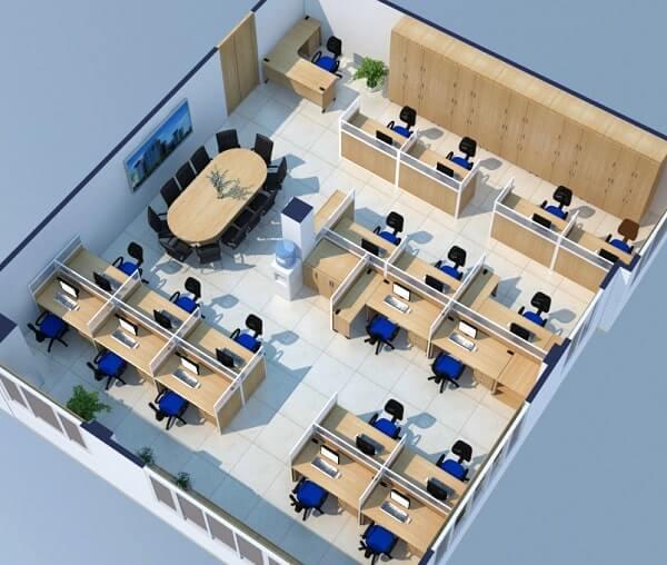 Thiết kế 3D văn phòng thông thường