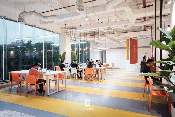 Màu vàng trắng tạo điểm nhấn cho văn phòng Goo Coworking