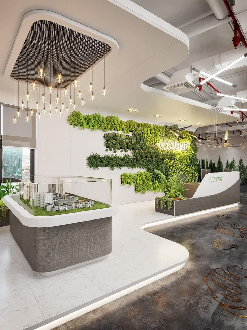 """Văn phòng Ecoland tạo điểm đặc biệt với """"bức tường xanh"""""""