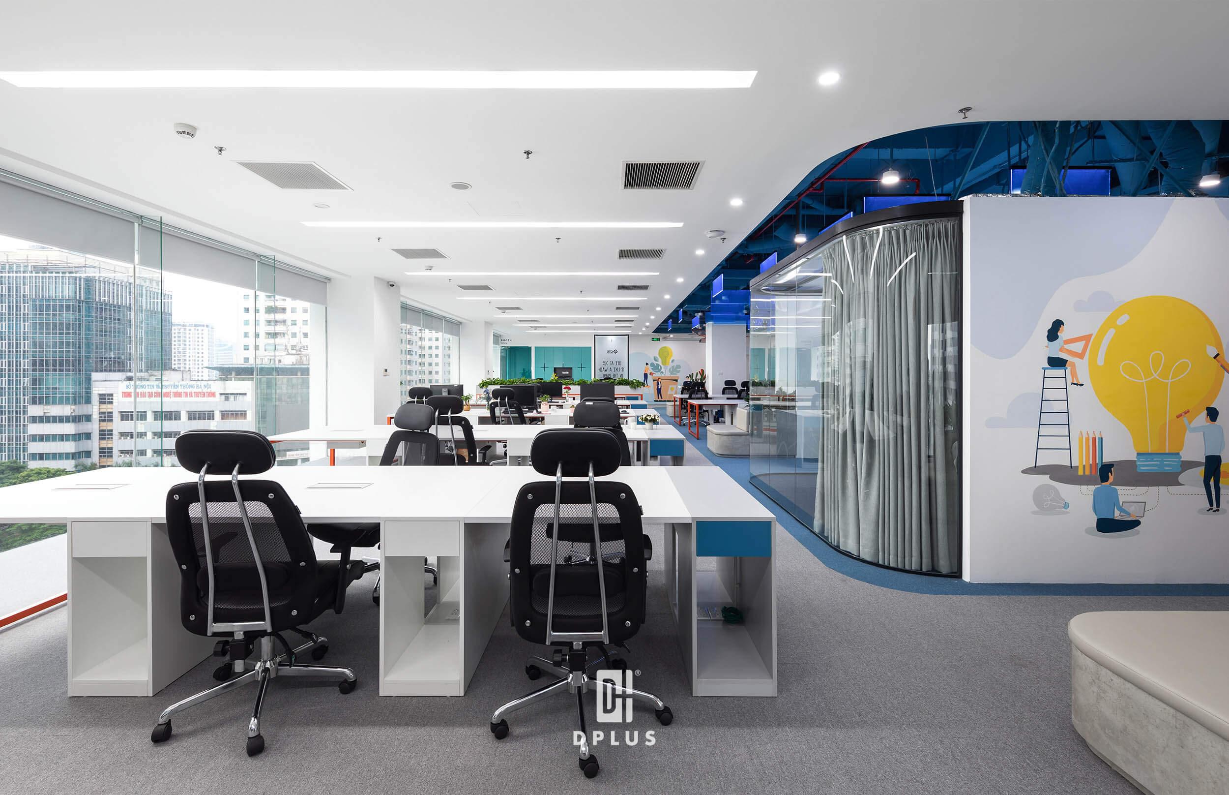 Hoạt động trong lĩnh vực công nghệ, văn phòng công ty DLS được thiết kế theo không gian mở, sử dụng kết hợp tông màu xanh trắng cùng những graphic kích thích sáng tạo và mang cảm giác mới mẻ, công nghệ